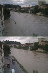 Hochwasser in Steyr - Webcam auf den Ennskai